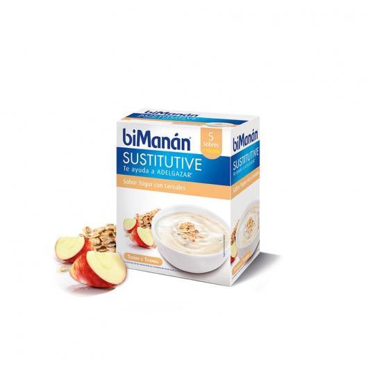 Crema sustitutiva sabor yogurt con cereales biManán, 6 sobres