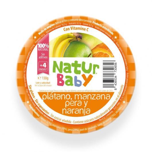 Purée de Banane, Pomme, Poire et Orange bio Natur BAby 130 g