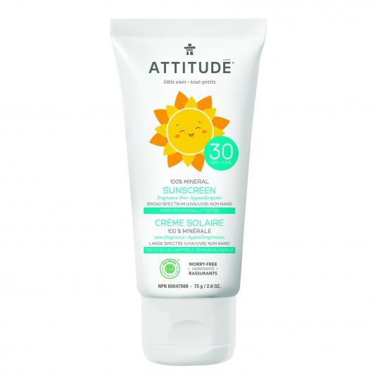 Crème Solaire Minérale Sans Parfum FPS 30 Attitude 75 g
