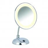 Specchio per cosmetici con piedistallo e luce Style cromo