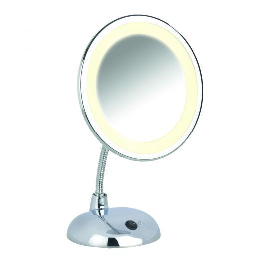 Espejo cosmética pie con Luz Style cromo