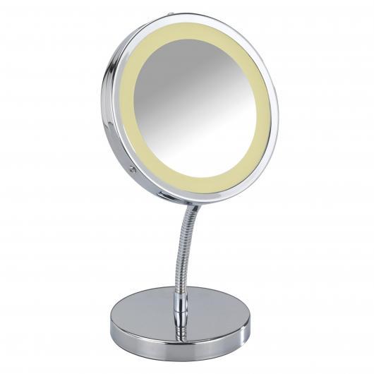 Specchio per cosmetici con piedistallo e luce Brolo Ø15