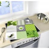 Tavole di vetro per cucine cottura in vetroceramica. Menu