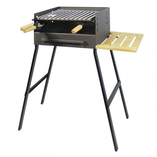 Barbecue à charbon avec plateau en bois