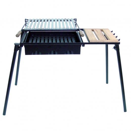 Barbecue à charbon découvert avec plateau en bois