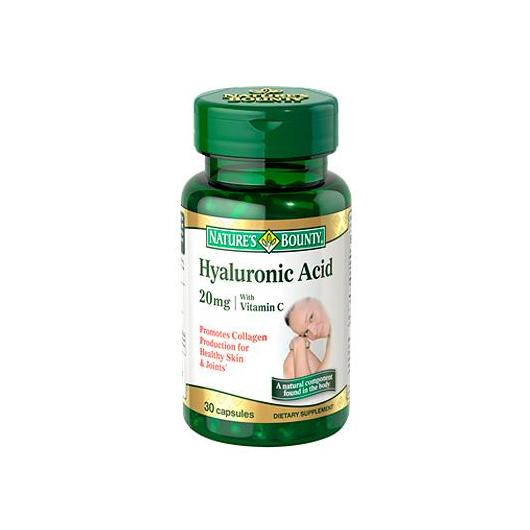 Ácido ialurónico 20 mg con Vitamina C Nature's Bounty, 30 capsule