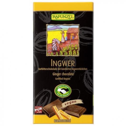 Barra di cioccolato con Ginger Vegan Rapunzel, 80 g