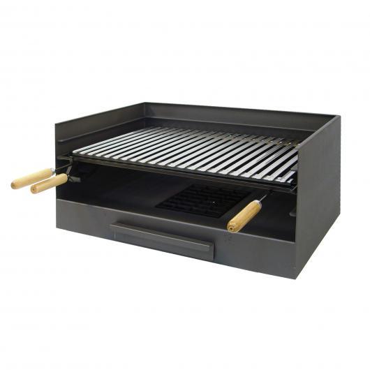 Barbecue à charbon avec bac à cendres et grille en acier inoxydable