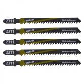 Wolfcraft 2361000 - 5 hojas de sierra de calar vástago en T / HCS / madera dura, planchas de virutas, tableros de madera estratificada, plástico / corte rápido y basto 75 mm