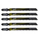 Wolfcraft 2360000 - 5 hojas de sierra de calar vástago en T / HCS / madera dura, madera contrachapeada, vigas de madera / corte rápido y muy basto 75 mm
