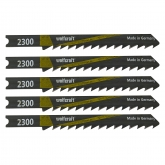 Wolfcraft 2350000 - 5 hojas de sierra de calar vástago en U / HCS / madera dura, madera contrachapeada, vigas de madera / corte rápido y muy basto 61 mm
