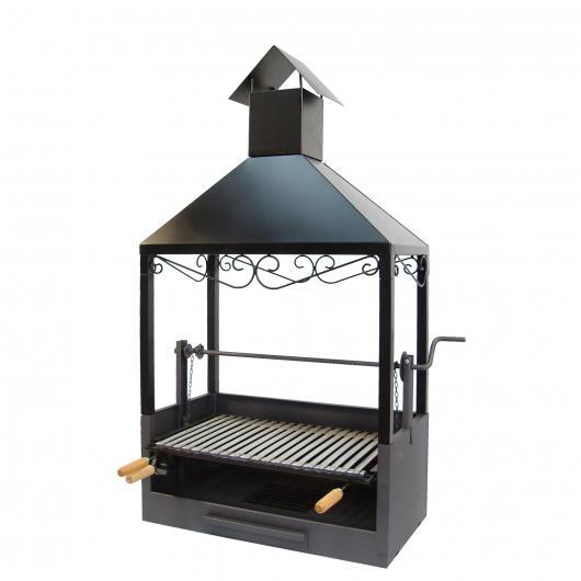 Cajón-Barbacoa con chimenea para Obra-Elevador con Parrilla Inox Imex el Zorro