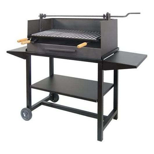 Barbecue avec roues et trois plateaux en fer