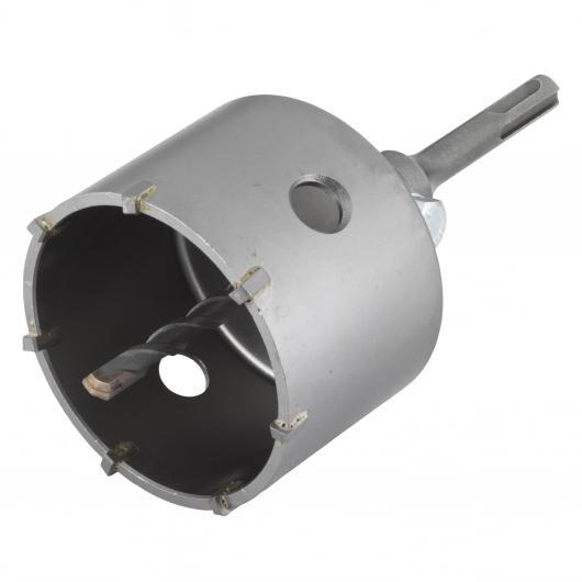 Wolfcraft 5481000 - 1 corona de sondeo con adaptador vástago SDS-plus, resistente a golpes y choques durante el taladrado Ø 83 mm
