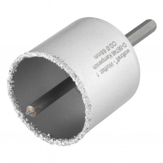 Wolfcraft 8913000 - 1 sierra de corona con metal duro con vástago y broca, profundidad de corte 55 mm Ø 68 mm