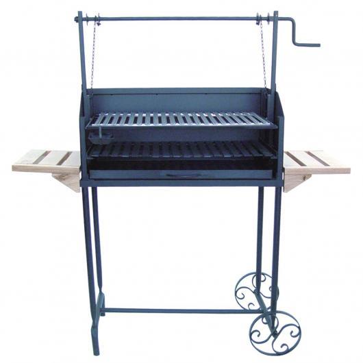 Barbacoa con ruedas y dos bandejas laterales de madera