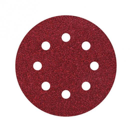 Wolfcraft 2270100 - 25 muelas de lija adhesivas, corindón grano 60, perforadas Ø 115 mm
