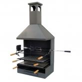 Cassetto-Barbecue a carbone con camino completo e Vassoio di Legno Imex el Zorro