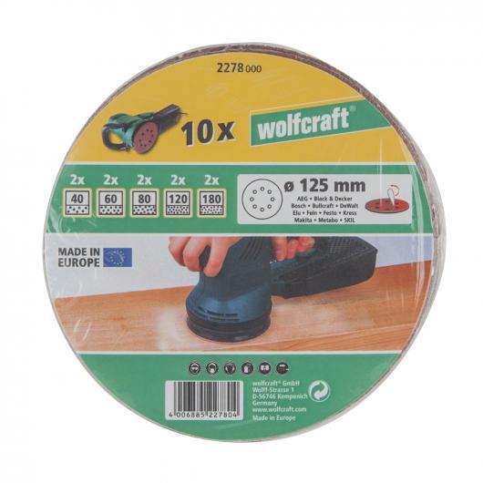 Wolfcraft 2278000 - 10 dischi abrasivi velcrati