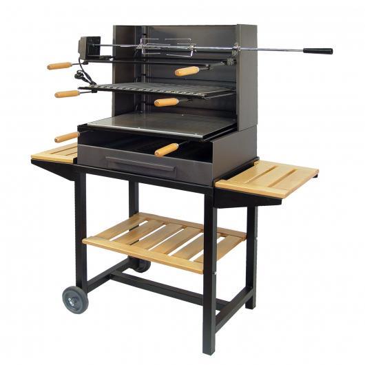 Barbecue complet avec roues et trois plateaux en bois