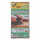 Wolfcraft 1809000 - 10 tiras abrasivas con adhesiva, corindón grano 40,60,80,120,180, perf. 93 x 185 mm