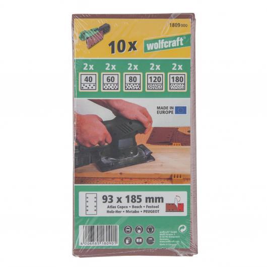 Wolfcraft 1809000 - 10 strisce abrasive velcro