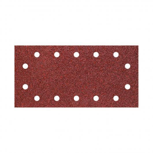 Wolfcraft 3184000 - 5 tiras abrasivas con adhesiva, corindón grano 80, perforadas 115 x 230 mm