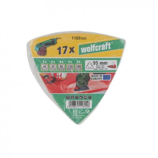 Wolfcraft 1169000 - 17 hojas de esmerilar adhesivas, para pintura y laca/ barniz, 95 mm