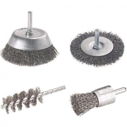 Wolfcraft 2133000 - 1 set di spazzole metalliche