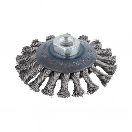 Wolfcraft 2153000 - 1 cepillo metálico, cónico, trenzado, rosca M 14 Ø 100 x 15 mm