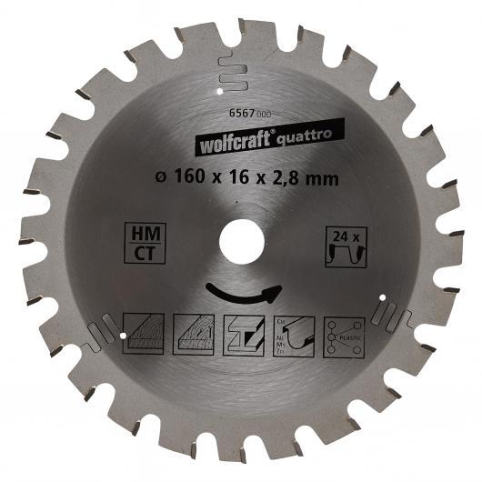 Wolfcraft 6567000 - 1 hoja de sierra circular HM, 24 dient., serie lila Ø 160 x 16 x 2,8 mm