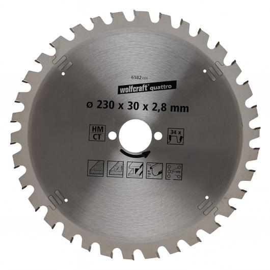 Wolfcraft 6582000 - 1 hoja de sierra circular HM, 34 dient., serie lila Ø 230 x 30 x 2,8 mm