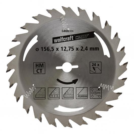 Wolfcraft 6466000 - 1 hoja de sierra circular HM, 24 dient., serie plata Ø156,5x12,75x2,4 mm