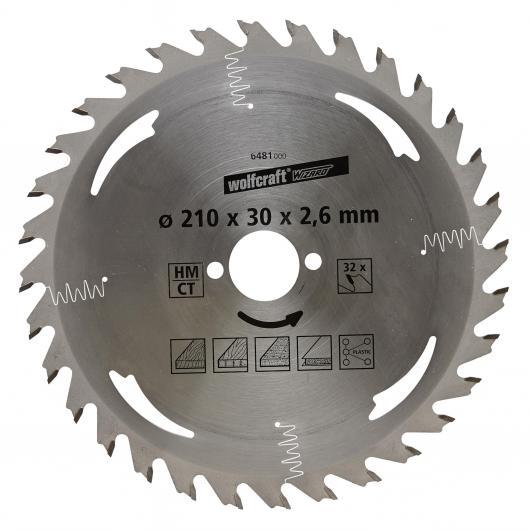 Wolfcraft 6481000 - 1 hoja de sierra circular HM, 32 dient., serie plata Ø 210 x 30 x 2,6 mm
