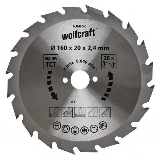 Wolfcraft 6368000 - 1 hoja de sierra circular HM, 20 dient., serie verde Ø 160 x 20 x 2,4 mm