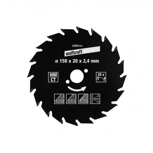 Wolfcraft 6369000 - 1 hoja de sierra circular HM, 20 dient., serie verde Ø 160 x 25 x 2,4 mm