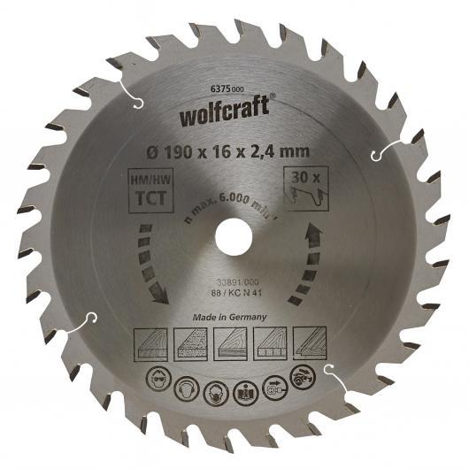 Wolfcraft 6375000 - 1 hoja de sierra circular HM, 30 dient., serie verde Ø 190 x 16 x 2,4 mm