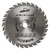 Wolfcraft 6376000 - 1 hoja de sierra circular HM, 30 dient., serie verde Ø 190 x 20 x 2,4 mm
