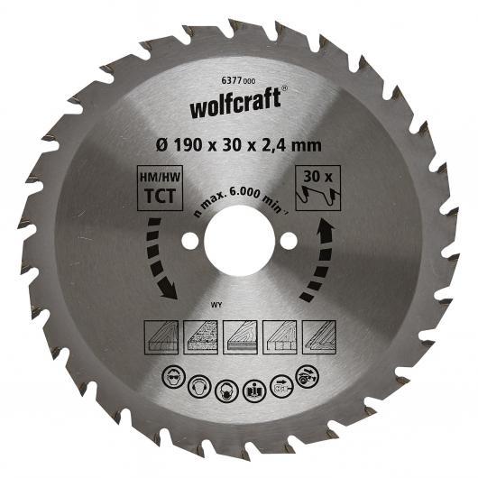 Wolfcraft 6377000 - 1 hoja de sierra circular HM, 30 dient., serie verde Ø 190 x 30 x 2,4 mm