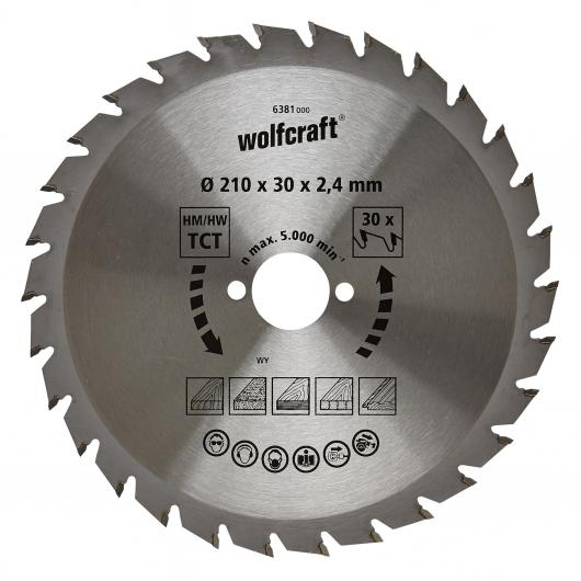 Wolfcraft 6381000 - 1 hoja de sierra circular HM, 30 dient., serie verde Ø 210 x 30 x 2,4 mm