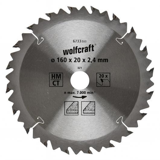 Wolfcraft 6733000 - 1 hoja de sierra circular HM, 20 dient., serie marrón Ø 160 x 20 x 2,4 mm