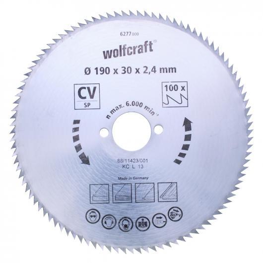 Wolfcraft 6258000 - 1 hoja de sierra circular CV, 100 dient., serie azul Ø 140 x 12,75 x 2 mm