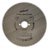 Wolfcraft 6281000 - 1 hoja de sierra circular CV, 100 dient., serie azul Ø 210 x 30 x 2,4 mm