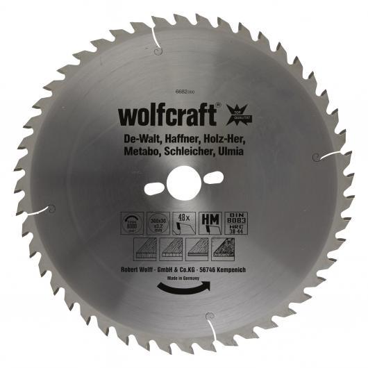Wolfcraft 6682000 - 1 hoja de sierra circular HM, 48 dient., serie naranja Ø 300 x 30 x 3,2 mm
