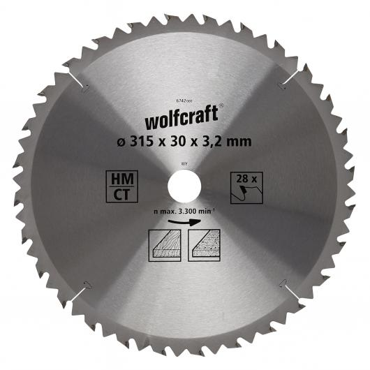 Wolfcraft 6742000 - 1 hoja de sierra circular HM, 28 dient., serie marrón Ø 315 x 30 x 3,2 mm