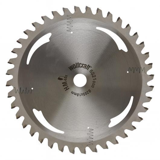 Wolfcraft 6521000 - 1 hoja de sierra circular HM, 40 dient., serie plata Ø 205 x 18 x 2,2 mm