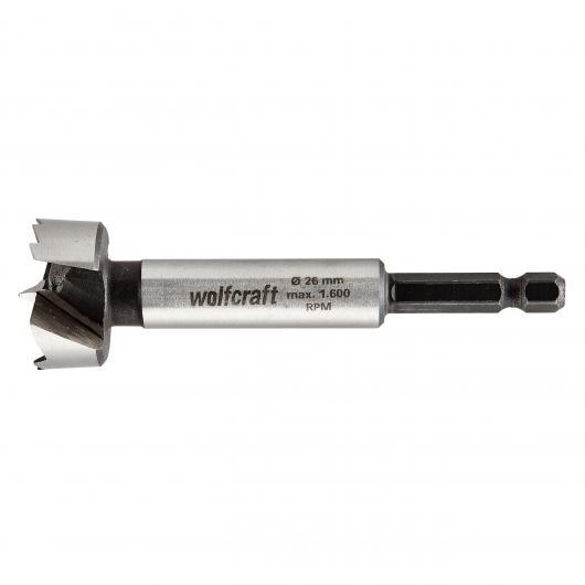 Wolfcraft 3309000 - 1 broca Forstner CV, con vástago hexagonal Ø 26 x 90 mm