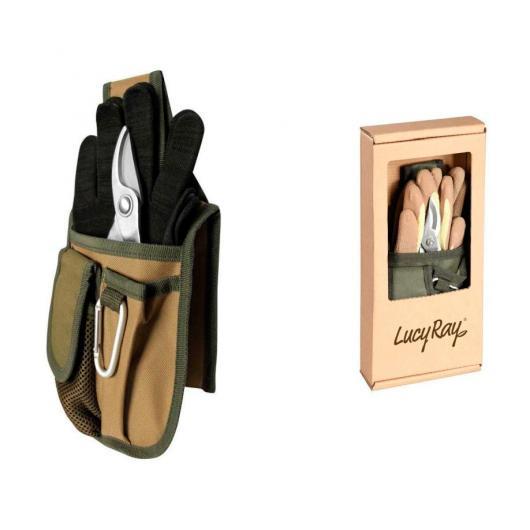 Set con podadora, guantes y bolsa de tela
