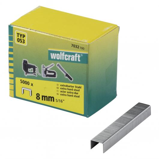 Wolfcraft 7032100 - 5000 grapas de lomo ancho, tipo 053 8 mm