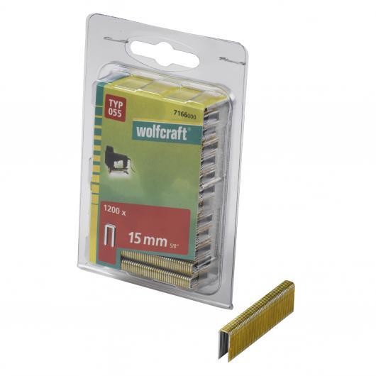 Wolfcraft 7166000 - 1200 grapas de lomo estrecho, tipo 055 15 mm